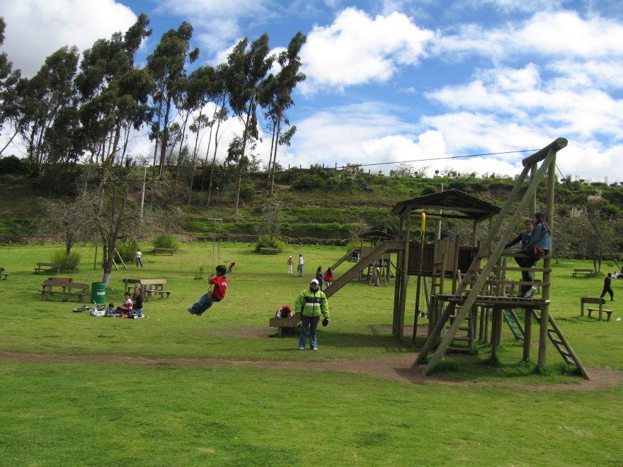 ... Playgroundat Parque de la Familia at Quisapincha, near Ambato, Ecuador
